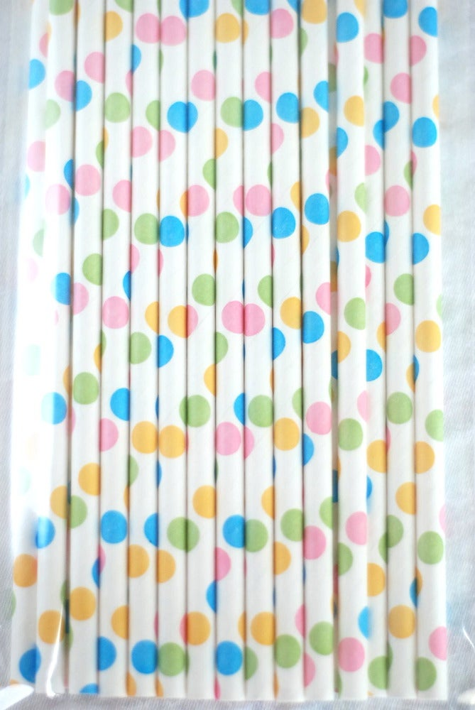Image of Polka Dot Paper Straws