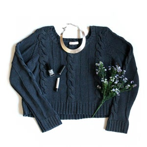 Image of Navy Cable Knit