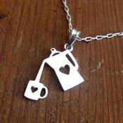 Image of Coffee Necklace for coffee lovers- Handmade Silver Coffee Necklace