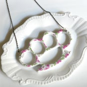 Image of New Cast Porcelain China Knuckles - Pink Floral Necklace