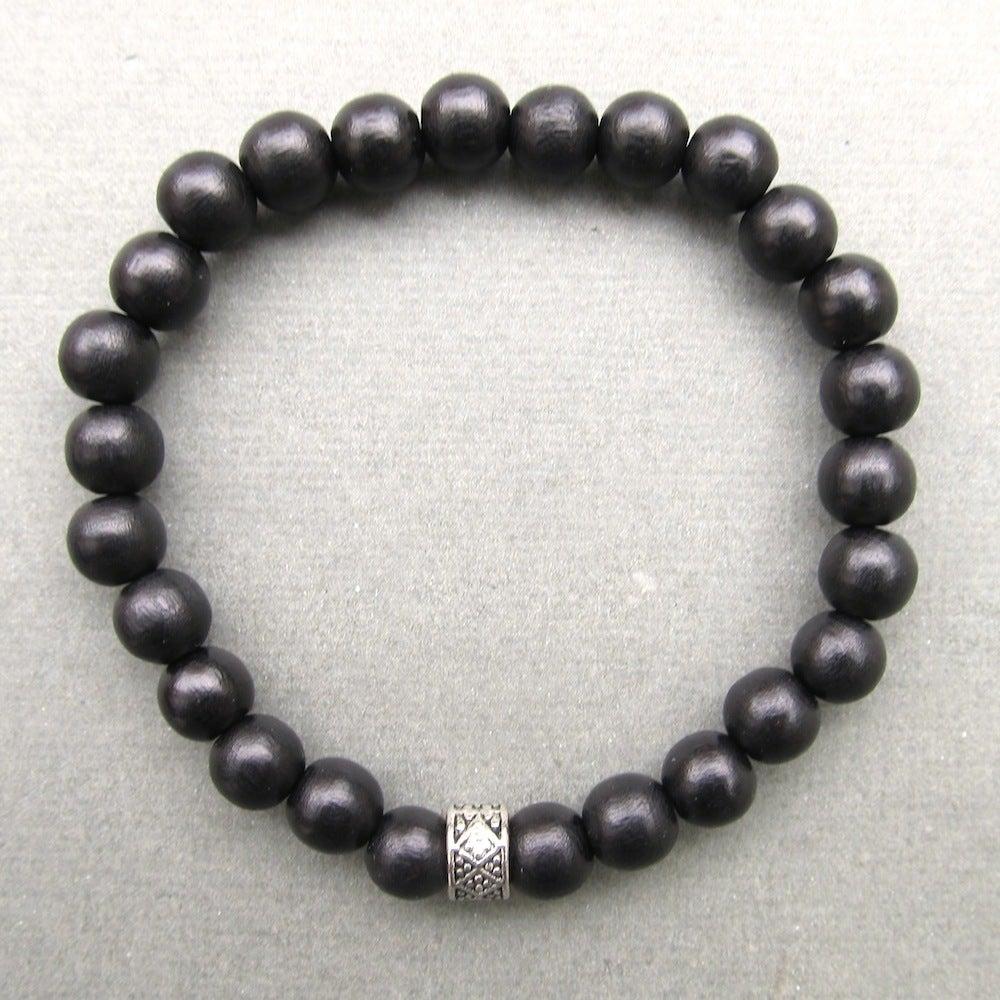 Image of Mens black wooden beaded bracelet with tibetan style bead 2