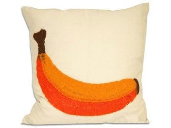 "Image of BANANA ADLER-ISH TOWEL STITCH PILLOW 18"" 30% off"