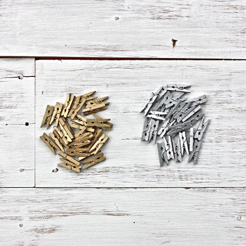 Image of Metallic Tiny Wooden Pegs