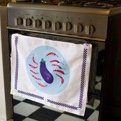 Image of Aubergines & Chillies Tea Towel