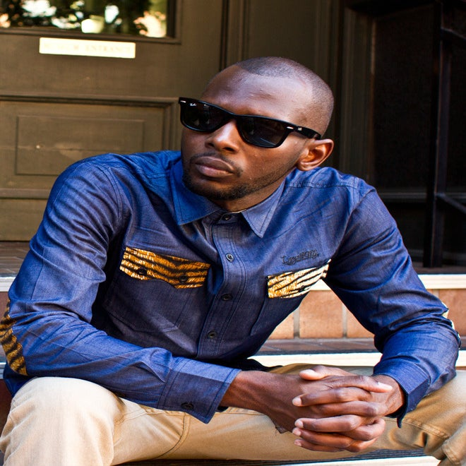 Image of 'Michelangelo' - 3 K.N.G.'s Blue/Tiger Chambray Button Shirt