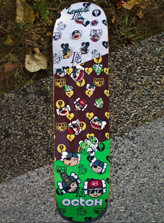 Image of Loyal K.N.G. x Octoh Skatedeck Collab (White/Brown/Green)