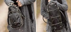 Image of Vintage Handmade Antique Cow Leather Women's Handbag Shoulder Bag Messenger Bag in Black (m11-2)