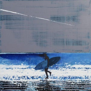 Image of Summer Surfer and Plane Trail, Cornwall