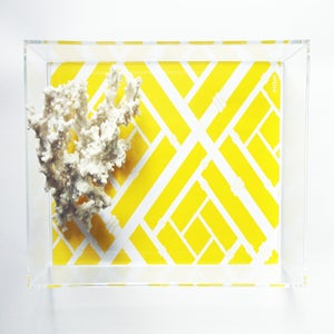 Image of Canary Yellow Faux Bamboo Lucite Tray with Handles