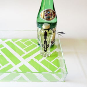 Image of Green Faux Bamboo Lucite Tray with Handles