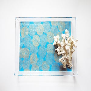 Image of Turquoise // Gold Mums Lucite Tray with Handles