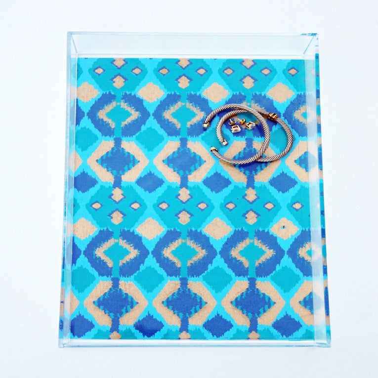 Image of Peacock Blue // Gold Ikat