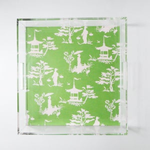Image of Chinoiserie Lucite Tray with Handles