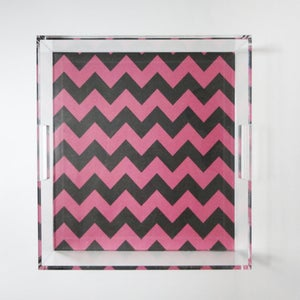 Image of Navy // Pink Chevron Lucite Tray with Handles