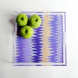 Image of Gold // Purple Chevron Lucite Tray with Handles