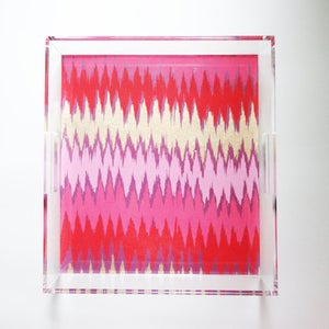 Image of Gold // Pink Chevron Lucite Tray with Handles