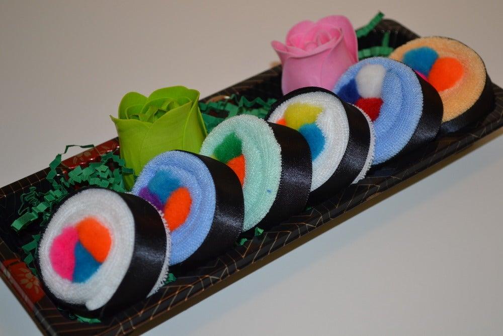 Image of Sushi, Baby! Sushi Roll Baby Washcloth Gift Set