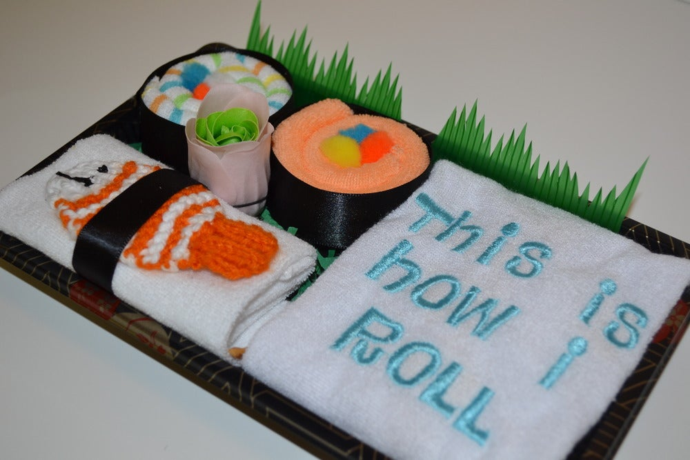 Image of Sushi, Baby! Gift Set - This is How I Roll! Bib & Washcloths