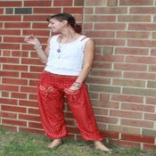 Image of Regal Red Floral Pattern Silk Harem Pants