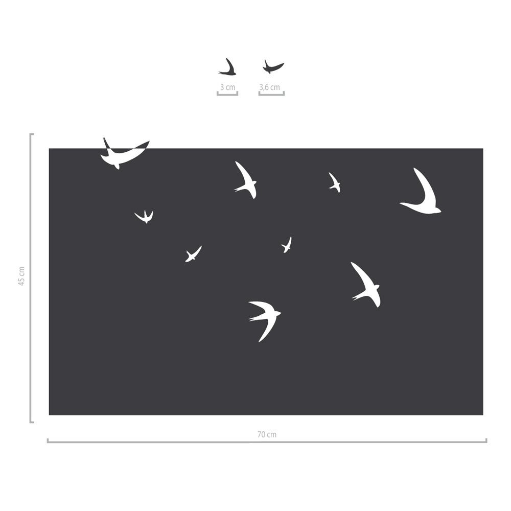 Image of Vögel Fenstertattoo - Sichtschutzfolie mit Schwalben Motiv, ab 70 cm