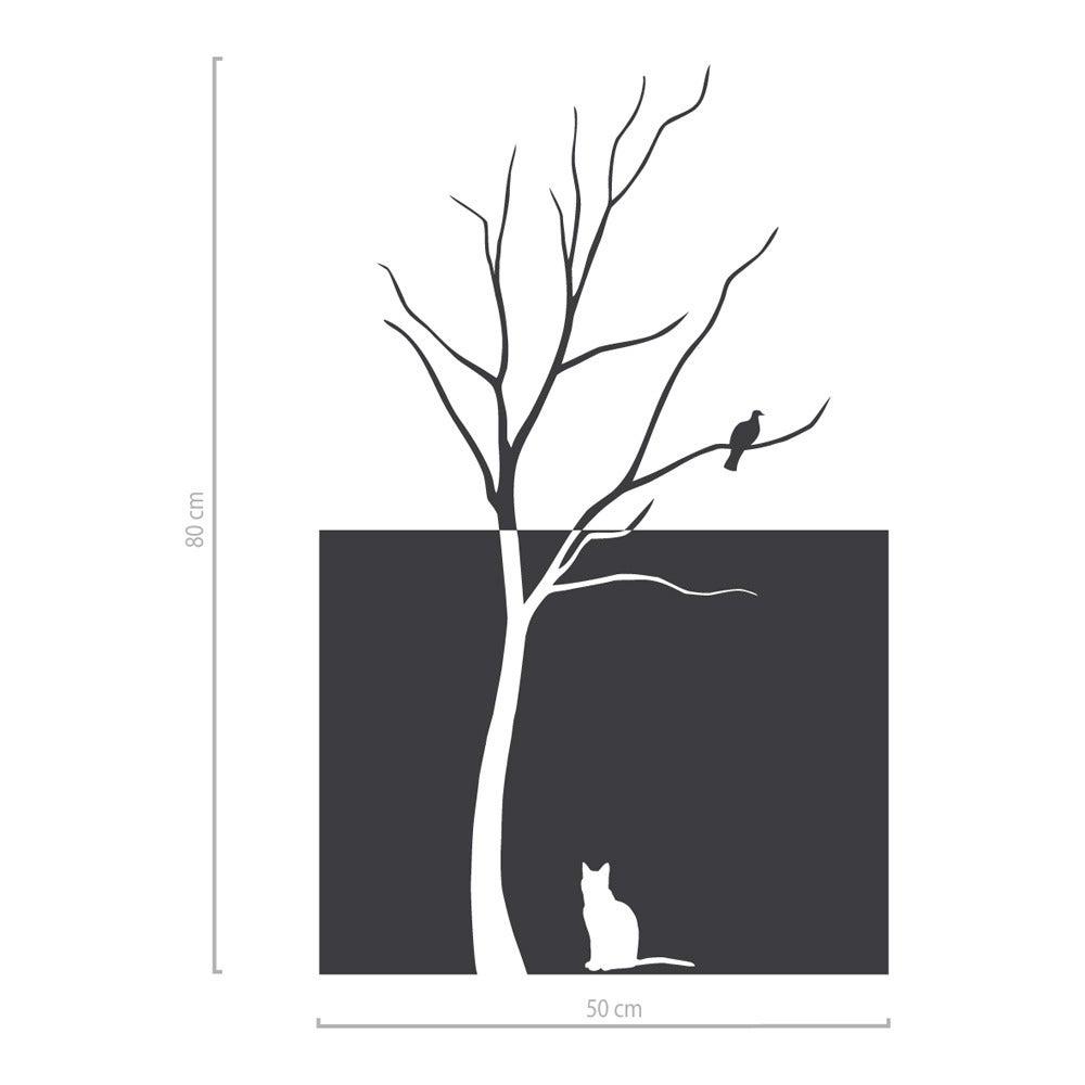 Image of Baum Fensterfolie mit Vogel und Katze