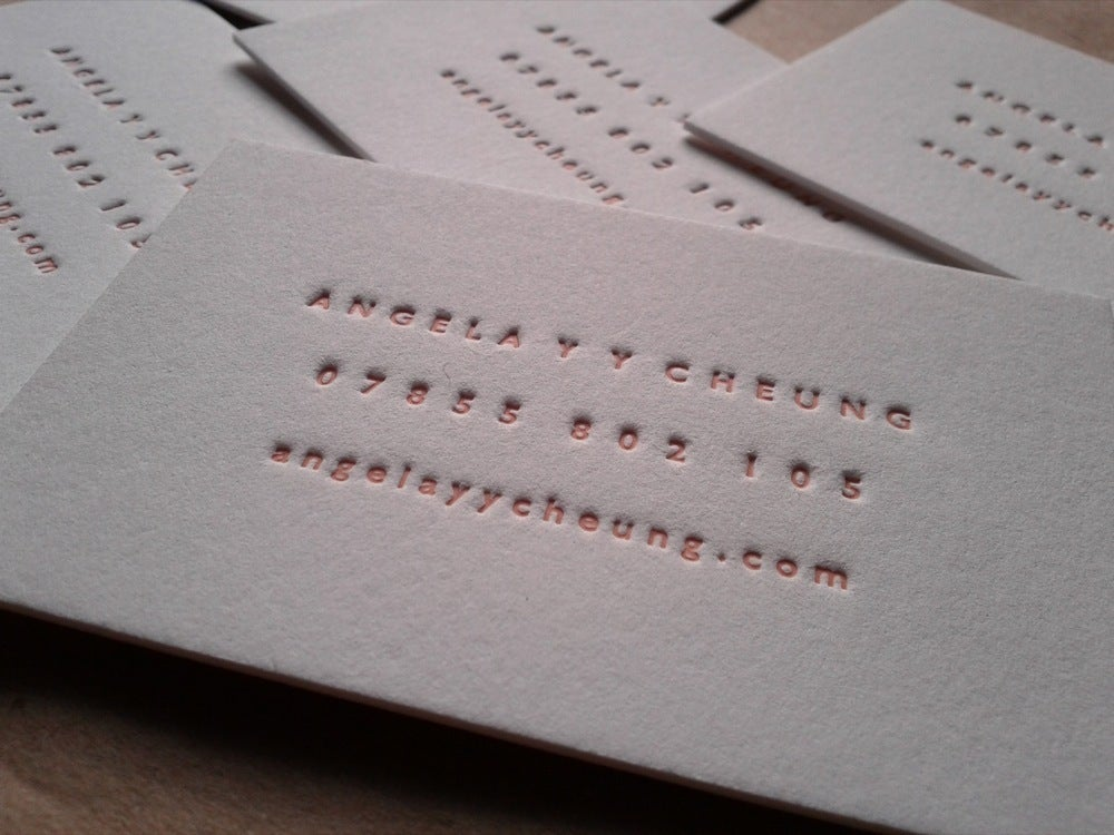 Image of Letterpress Business Cards - Minimal. 3 line design, set of 100.