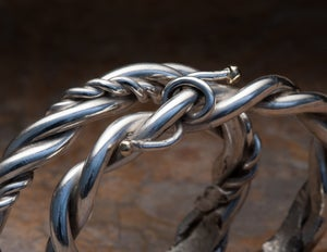 Image of Sterling Silver 14k Gold Barbed Wire Bracelet for her