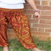 Image of Burgundy and Mustard Geometric Print Satin Harem Pants