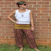 Image of Raspberry and Goldenrod Silk Harem Pants