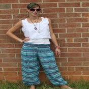 Image of Stripey Blues Cotton Harem Pants