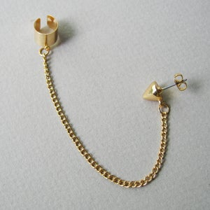 Image of Single Spike Stud Chain with Earring Cuff, Gold or Silver