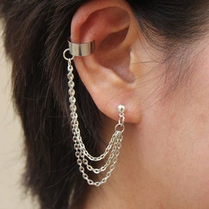 Image of Triple Strands Chain with Double Piercing or Earring Cuff