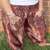 Image of Cherry Red with Paisley Print Satin Harem Pants