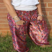 Image of Happy Pink Paisley Satin Harem Pants