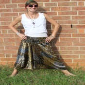 Image of Silver, Gold, and Black Satin Peacock Print Drop Seam Harem Pants