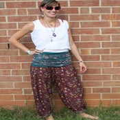 Image of Plum and Teal Silk Floral Silk Harem Pants