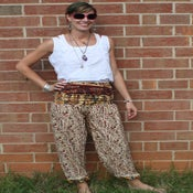 Image of Primitive Woodsy Pattern Silk Harem Pants