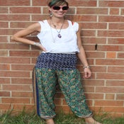 Image of Blue and Green Assymetrical Silk Harem Pants