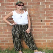 Image of Black Plume Print Cotton Harem Pants