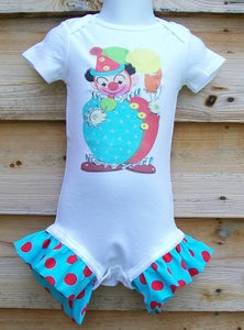 Image of Vintage Circus Clown Ruffle Onesie