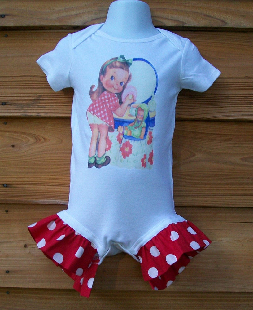 Image of Vintage Pretty Girl Ruffle Onesie