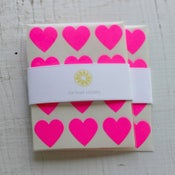 Image of 144 Neon Pink Heart Stickers