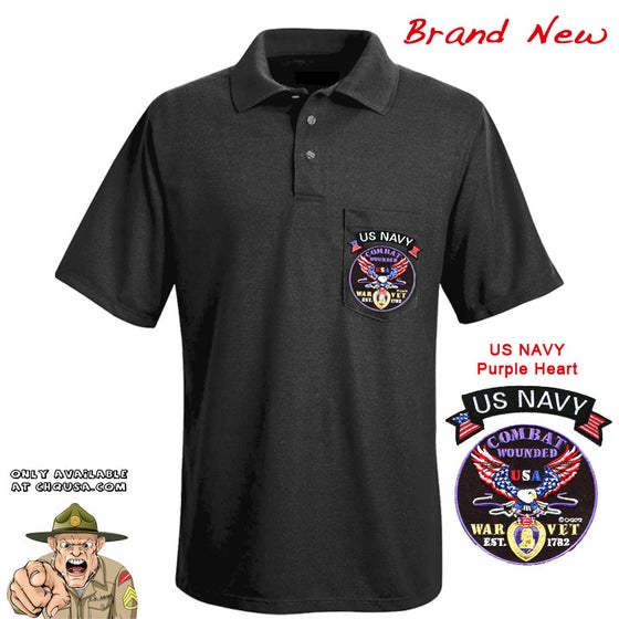 Image of MENS POLO PURPLE HEART & NAVY TAB- PSBP24/B