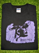 """Image of the hissy fits """"two lions"""" black t-shirt, purple"""