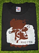 """Image of the hissy fits """"two lions"""" black t-shirt, white-rust"""