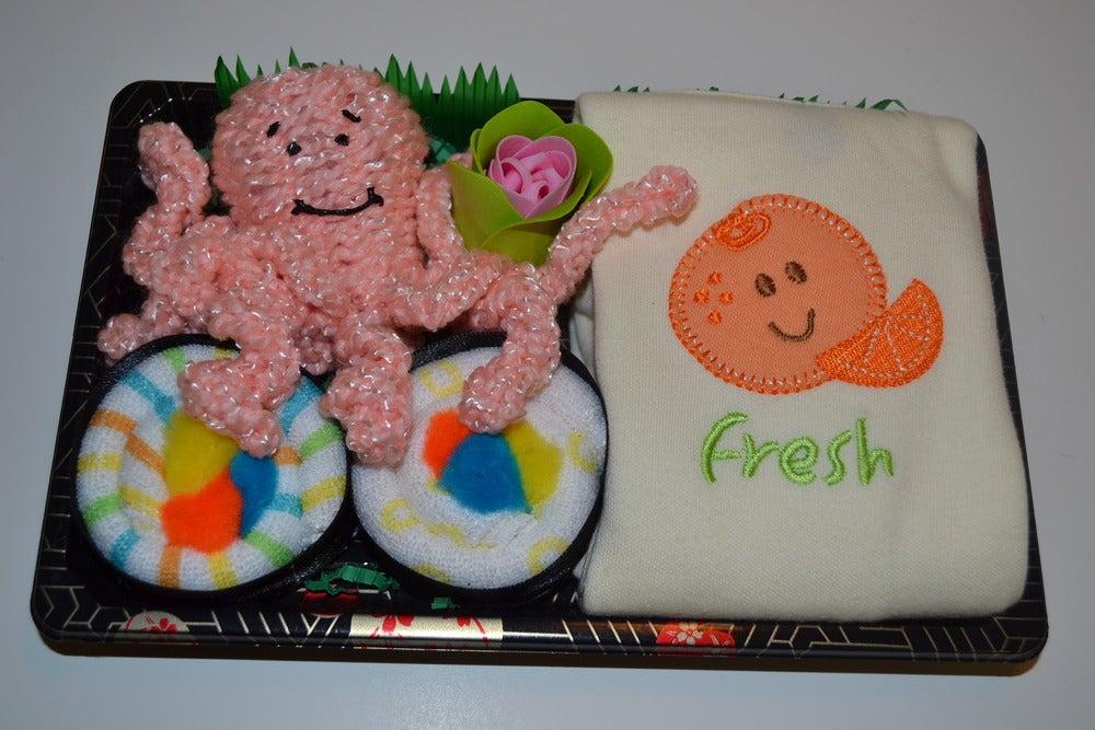 Image of Sushi, Baby! Neutral Baby Gift Set with Fresh Orange Onesie