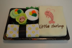 Image of Sushi, Baby! Neutral Baby Gift Set with Shrimp Onesie