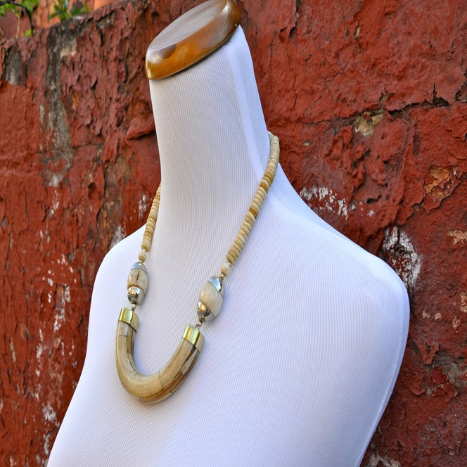 Image of Gold Horn Crescent Necklace