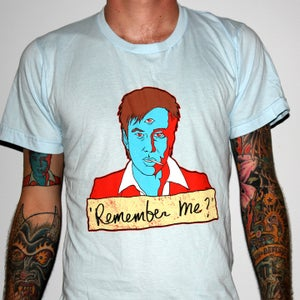 """Image of Bill Hicks """"Remember Me?"""" by Jermaine Rogers T-Shirt - AA Light Blue"""