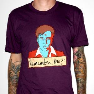 """Image of Bill Hicks """"Remember Me?"""" by Jermaine Rogers T-Shirt - AA Eggplant"""